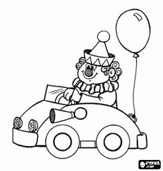 Clown Driving A Small Car In The Performance Of Circus Coloring Page