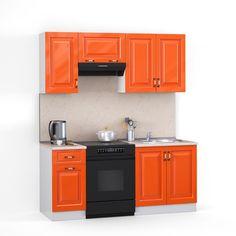 Этот яркий кухонный гарнитур прекрасно впишется в интерьер вашей кухни и не займет много места. Чтобы его разместить, вам не нужно делать специальную планировку. Благодаря яркой цветовой палитре он создаст великолепную домашнюю атмосферу, а кухонные шкафы и полки позволят хранить все необходимое для вас! Он прекрасно будет смотреться в вашей кухне и придавать ей особый стиль. Фасад кухонного гарнитура состоит из экологически чистого материала МДФ, а столешница имеет высокую прочность.