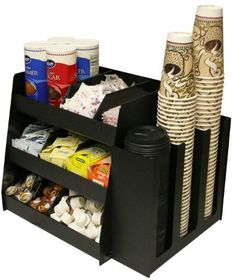 2 Piece Combo Coffee Condiment Organizer And A 3 Column Cup and Lid Holder...for One Great Price ! A Very Professional Coffee Program Presentation. Comes with 6 Extra Tall Shelf Dividers that are Movable & Removable. Proudly Made in the USA! by PPM.
