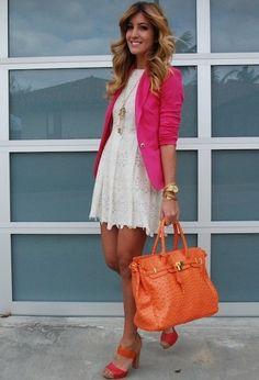 Pink + Orange  , Zara in Blazers, Michael Kors in Watches, www.sugarandsequins.com in Bags, Nine West in Heels / Wedges, Forever21 in Dresses