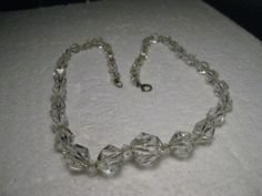 """Vintage Estate Graduated Cut Crystal Beaded Necklace, 17"""", 1940's, 20 sided beads"""
