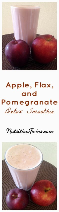 Apple, Flax, and Pomegranate Detox Smoothie   Only 295 Calories   Perfect Breakfast after overindulgence  Flushes Bloat  Floods Body with Antioxidants to Fight Damage    For RECIPES, fitness & nutrition tips please SIGN UP for our FREE NEWSLETTER www.NutritionTwins.com