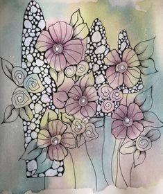 Pen And Watercolor, Watercolor Ideas, Watercolour Tutorials, Abstract Watercolor, Watercolour Painting, Flower Doodles, Botanical Art, Watercolours, Art Journaling