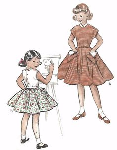 "Vintage 1950's Sewing Pattern Girls' Full Skirt Dress Large Pockets B 24"" Age 6  #Butterick"