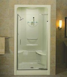 KOHLER Purist 42 in. x 72 in. Heavy Semi-Frameless Pivot Shower Door in Vibrant Brushed Nickel with Clear Glass Bathtub Doors, Frameless Shower Doors, Bathtub Shower, Glass Shower Doors, Glass Door, Fiberglass Shower Stalls, Kohler Purist, Shower Inserts, Brass Door Handles