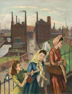 Mill Girls, Ashton, Lancashire by Harry Rutherford 1948 (Central Art Gallery, Ashton-under-Lyne). Park Parade, Ashton-under-Lyne. In the background are the Old Wharf and Albion Mills. Art Uk, Urban Life, Heart Art, Painting & Drawing, Oil On Canvas, Art Gallery, Illustration Art, Old Things, Fine Art