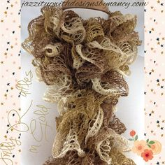 Scarf Hand knit Ruffle Shimmering Gold Beige Yellow Red heart Sashay. Beautiful array of golds, beige, yellows in this metallic ruffle scarf. Hand knit ruffle scarf is knit in a narrow style and can be worn in several fashionable styles. Ruffle scarf can be worn long in front, doubled around the neck and down, tied in front or doubled in front to create a bigger ruffle.