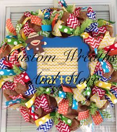It's a boy wreath - Baby burlap wreath in primary colors on Etsy, $95.00