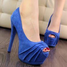 Brand New 2014 Fashion Women Pumps Sexy Spike High Heel Shoes Party Faux Suede Open Toe Platform Pumps EUR Size 34-38 XB1128-ZZKKO