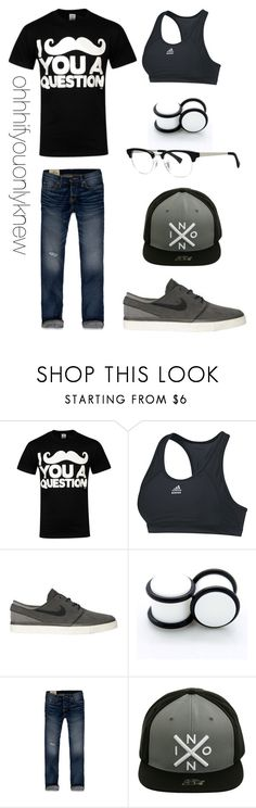 """""""Untitled #205"""" by ohhhifyouonlyknew ❤ liked on Polyvore featuring Goodie Two Sleeves, adidas, NIKE, Hollister Co., Nixon, mustache, tomboy and dyke"""