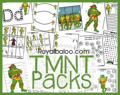 FREE Teenage Mutant Ninja Turtle Printable packs!  Tot through 3rd grade!