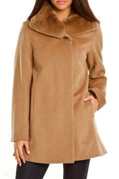 Hilary Radley Marissa Rabbit Fur Trim Coat In Camel
