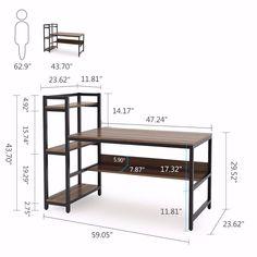 Tribesigns Office Desk Computer table with Storage Shelves Furniture, Home Office Desks, Computer Desk, Home, Computer Table, Study Table, Storage Shelves, Desk Design, Bookshelf Desk