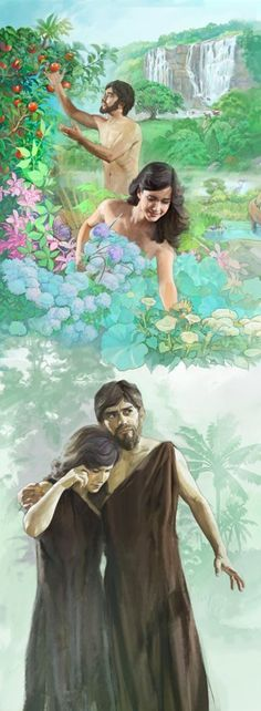 Adam and Eve in the garden of Eden and later being put out of the garden because of their disobedience and sin...they brought sin and death to all humankind!