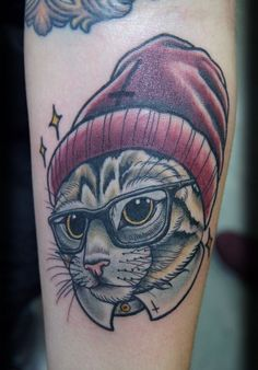Custom Neo Traditional Color Hipster Cat Forearm Tattoo Design_tattoo gallery