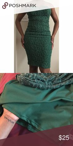Green cocktail lace dress. Has stretch. Bust area is slightly padded. Zippered back. My current measurements--> Bust: 34B Waist: 30 Hips: 41 Dresses Strapless