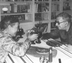 Simone de Beauvoir and Sartre. Lovers, life long partners, intellectual mates. Celebrating his 70th anniversary. Paris, 1975.
