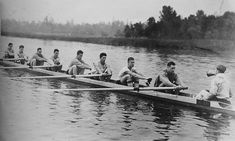 """""""This crew was like a band of brothers"""" says Bob Moch """"each as vital and valuable as the other.""""  Bow to stern, Morris, Day, Adams, White, McMillin, Hunt, Rantz, Hume, Moch.  Husky Crew Foundation photo:  Erickson collection. Coach: Al Ulbrichson, Tom Bolles, assistant coach: Ky Ebright, Shell builder: George Pocock, Check out the huskycrew website."""