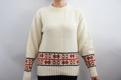 Vintage 70s Fair Isle Sweater Hipster Sweater by SycamoreVintage