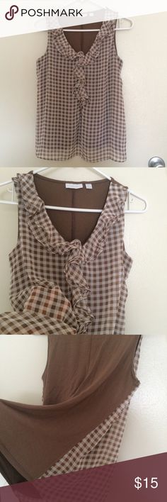 Gingham brown shirt Sleeveless gingham check shirt. Stretchy material. Excellent condition. New York & Company Tops Tees - Short Sleeve
