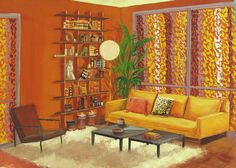 "Gouache on board depicting a Mid-Century Modern interior. Unsigned. Unframed, 14"" L x 0.12"" W x 10"" H"