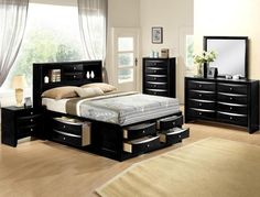 Crown Mark B4285-Q 5 pc emily collection black wood finish design headboard queen bedroom set with storage drawers Black Bedroom Sets, King Size Bedroom Sets, 5 Piece Bedroom Set, Black Bedroom Furniture, Queen Bedroom, Wood Bedroom, Bedroom Ideas, Master Bedroom, King Size Storage Bed