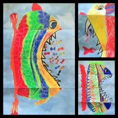 On a folded paper the children draw a cute, happy fish with oil pastels. When the paper is folded open they draw the rest of the (now) terrifying fish. Finish with light blue ecoline.