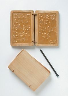 The Romans used writing for other tasks too, such as making lists, leaving instructions and the education of boys. Then, wax tablets were used. A wax tablet was most commonly formed of two pieces of wood and was called a diptych. Sometimes tablets were made of three pieces, called a triptych, or more, called polyptychon.