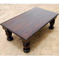 Dark Solid Wood Rustic Coffee Table