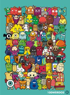 100 weirdos Character Design, Game Design, Illustration I am ALL about anything called 100 weirdos. Graffiti Art, Graffiti Doodles, Cute Doodle Art, Doodle Art Designs, Doodle Art Drawing, Game Design, Design Art, Doodle Monster, Kawaii Doodles