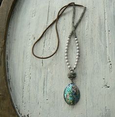 pearls shell turquoise leather sterling silver necklace by mimiluu, $130.00