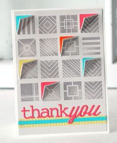 Square Cuts Thank You Card by Betsy Veldman for Papertrey Ink (September 2013)