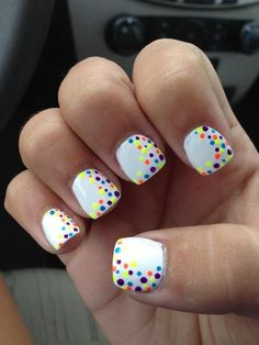 Colorful Polka Dot Nail Art on White