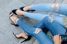 ripped jeans + heels