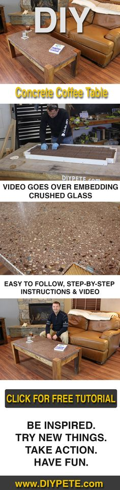 Video tutorial and Free plans to inspire and help you build a concrete table with crushed recycled glass in it!