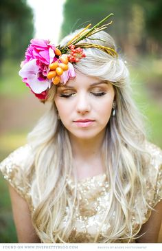 Gold dress & Floral headpiece | Photo: Adene Photography, Dress: Alana van Heerden, Floral Headpiece: Anli Wahl