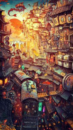 Fantasy Art Landscapes, Fantasy Landscape, Fantasy Artwork, Landscape Art, Fantasy Posters, Ps Wallpaper, Graffiti Wallpaper, Anime Scenery Wallpaper, Apple Wallpaper