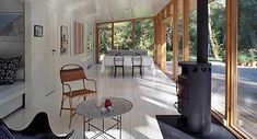 Designed by Christensen & Co. Architects in conjunction with Pernille Poulsen, this Summer Cottage In Denmark is a canopied timber structure measuring only 689 square feet but because of its de… New Home Designs, Home Design Plans, Concept Architecture, Modern Architecture, Porches, Small Staircase, Small Modern Home, Modern Homes, Small Floor Plans