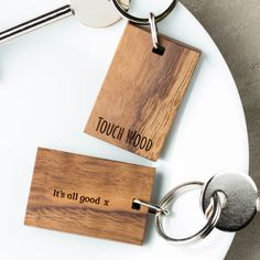 Personalised Touch Wood Keyring | Create Gift Love £8  A beautiful, unique good luck keyring. This quirky walnut wood keyring is engraved with the words 'Touch Wood' a saying well known for bringing good luck.   http://www.creategiftlove.co.uk/collections/personalised-keyrings/products/personalised-touch-wood-keyring  #keyrings #personalised #creategiftlove