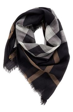 Main Image - Burberry Check Wool & Silk Square Scarf