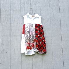 red white floral upcycled Dress / romantic Upcycled / Patchwork Tunic Shirt / Funky Tunic Dress / Eco Dress / Artsy Dress by CreoleSha by CreoleSha on Etsy