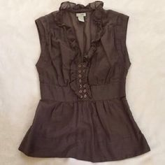 "ANTHROPOLOGIE ""Odille"" Brown Ruffled Top NWOT!!! Taupe brown. Sleeveless. Cotton/silk blend. Invisible side zipper Anthropologie Tops"
