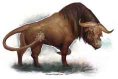 The catoblepas is a legendary creature from Ethiopia, described first by Pliny the Elder and later by Claudius Aelianus. It is said to have the body of a buffalo and the head of a wild boar. Its back has scales that protect the beast, and its head is always pointing downwards due to its head being heavy. Its stare or breath could either turn people into stone, or kill them. - Victor Guerra