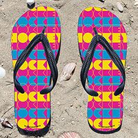 Neon Hockey Fuchsia Girls Flip Flops - Kick back after a hockey game with these great flip flops! Fun and functional flip flops for all hockey players and fans.