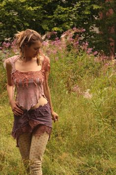 RESERVED Gypsy tattered Heather fairy silk top. $70.00, via Etsy.
