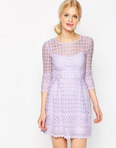 Image 1 ofASOS Mesh Skater Dress With Embroidered Border