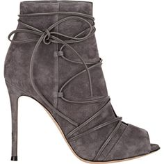 Gianvito Rossi Ellie Booties ($1,080) ❤ liked on Polyvore featuring shoes, boots, ankle booties, ankle boots, colorless, grey leather booties, gray ankle boots, peep toe bootie, lace up peep toe booties and lace up booties