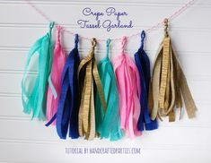 Crepe Paper Tassel Garland Tutorial by Handcrafted Parties - I am so glad I found this version of paper tassels!! I tried making tissue tassels in the past, and it took twice the time to make all those, as it did to use the crepe paper. I'll definitely be making more of these for parties!