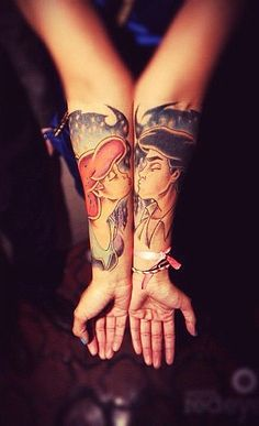 Prince Eric and Ariel tattoo inspiration for Disney lovers
