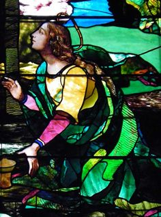 LaFarge Chancel Windows;Trinity Episcopal Church; 389 Delaware Avenue, Buffalo, NY  Designer: John LaFarge  Date installed: 1886   Style: Opalescent  Mary Magdalene detail from Resurrection window.